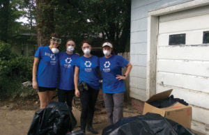 Volunteers from JNOLA, a Jewish young adults' group in New Orleans, at a house affected by the recent flooding in Baton Rouge, La., Aug. 20. Photo: Courtesy of the Jewish Federation of Greater New Orleans.
