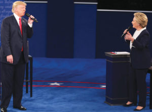 Donald Trump and Hillary Clinton sparred fiercely at the second presidential debate at Washington University in St. Louis, Mo., Oct. 9. Photo: Daniel Acker/Bloomberg/Getty Images.